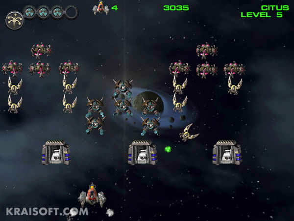 Liberate your planet system from aliens using the spacefighter.